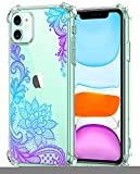 Oihxse Cristal Compatible con iPhone 11 Pro MAX Funda Transparente TPU Silicona Estuche Airbag Esquinas Anti-Choque Anti Rasguños Diseño Rosa Flower Caso (Flores B8)