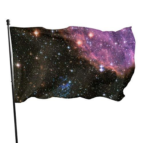 GOSMAO Bandera de Jardín Doble Costura Resistentes a la Decoloración UV Banner de Bandera Decorativo Exterior Fiesta Mardi Gras para Patio Césped Cielo de la Galaxia 150X90cm