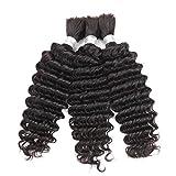 Deep Wave Human Hair Bulk For Braiding Peruvian Virgin Bulk Hair No Weft Deep Curly Micro Braids Human Hair Weaving 100g 1Piece/order (12inch 1Bundle, #1B(Natural Black))