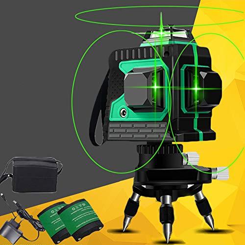 Kreuzlinienlaser Grün 3D 12 Laserlinie 3x360 Grad Horizontales und vertikales Kreuz Superstarke Grüne Laserstrahllinie, Selbstnivellierungs Laser Level, 25m Arbeitsbereich, Magnetische Schwenkbare