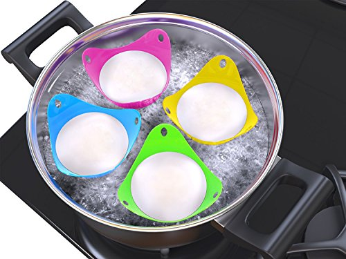 Dark-Color Set 4 Pack Poached Egg Maker Kitchen Essentials Egg Poacher Cups Easy Release Poach Pods Premium FDA-Approved Food-Grade Silicone Egg Poachers with Base Ring for Poached Eggs