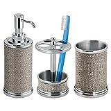 mDesign Set da 3 Accessori per il bagno in metallo – Set accessori bagno elegante composto da dispenser sapone liquido, portaspazzolino e bicchiere da lavandino – argento