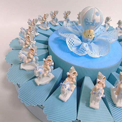 Nene bonnière voor snoepjes of snoepjes op fopspeen ketting geboorte doop verjaardag met centrale munt 20 stuks Hemelsblauw.