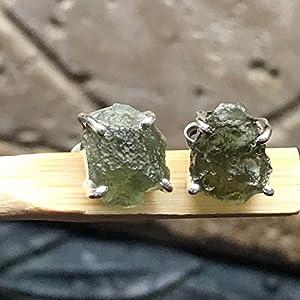 Natural Green Czech Republic Moldavite 925 Solid Sterling Silver Healing Stone Stud Earrings