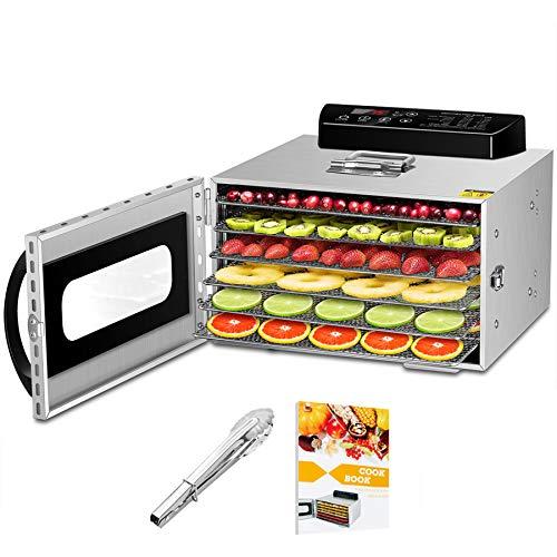 Dörrautomat Edelstahl mit Rezeptheft, 6 Etagen Dörrgerät Temperaturregler von 30-90℃, Timerfunktion von 24h, BPA-frei, Dörrautomat für Obst- Fleisch- Früchte-Trockner-Gemüse-Kräuter