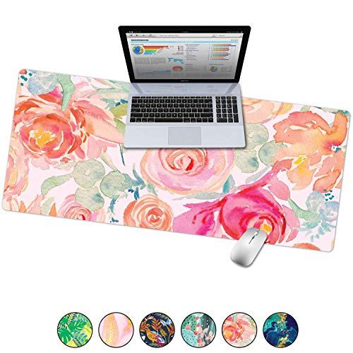 French Koko Large Mouse Pad, Desk Mat, Keyboard Pad, Desktop Home Office School Cute Decor Big Extended Laptop Protector Computer Accessories Pretty Mousepad Women Girls XL 31'x15' (Watercolor Garden)