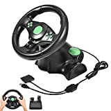 Pomya Gaming Steering Wheel(23 cm),Realistic Design,Pedals for Xbox 360/ PS2/ PS3 and PC