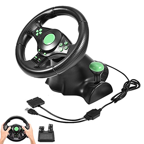 ASHATA Gaming Vibration Racing Lenkrad (23cm) mit gefederten Pedalen für Xbox 360/PS2/PS3/PC, USB