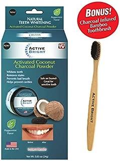 Active Bright Charcoal Teeth Whitening Powder w/Bonus Bamboo Toothbrush - Original As Seen on TV