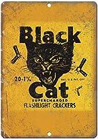 黒猫爆竹壁金属ポスターレトロプラーク警告ブリキサインヴィンテージ鉄絵画装飾バーガレージカフェのための面白いハンギングクラフト