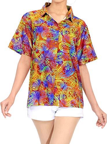 LA LEELA Hawaiian Blouse | Vrouwen Beach Shirt | Beach Party Top | Korte mouw | Zomer Casual | Plus Size Losse Aloha | XS - 3XL | | Digitale DRT117