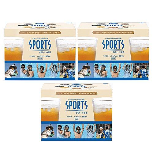 スポーツ麦茶 3箱 (たっぷり90リットル) ノンカフェイン、オーガニック原料の高級ブレンド健康茶、アミノ酸18種 (天然ミネラル塩配合) 理想的な水分補給
