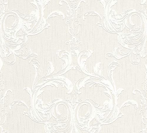 Architects Paper Textiltapete Tessuto 2 Tapete mit Ornamenten barock 10,05 m x 0,53 m creme weiß Made in Germany 961962 96196-2
