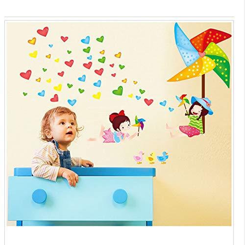 Zfkdsd Kreative Wandaufkleber Wohnzimmer Schlafzimmer Kinderzimmer Puzzle Glücklich Kindheit Liebe Papier Stapel Windmühle Wandaufkleber