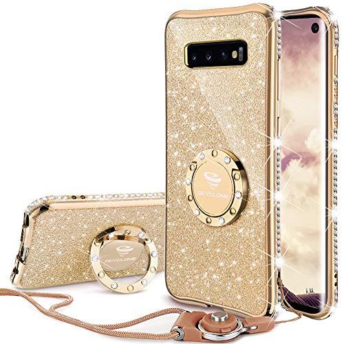 OCYCLONE Samsung Galaxy S10 Hülle, Glitzer Diamant Handyhülle mit Trageband & Handy Ring Ständer Schutzhülle für Galaxy S10 Handy Hülle für Mädchen Frauen, 6.1 Zoll - Gold