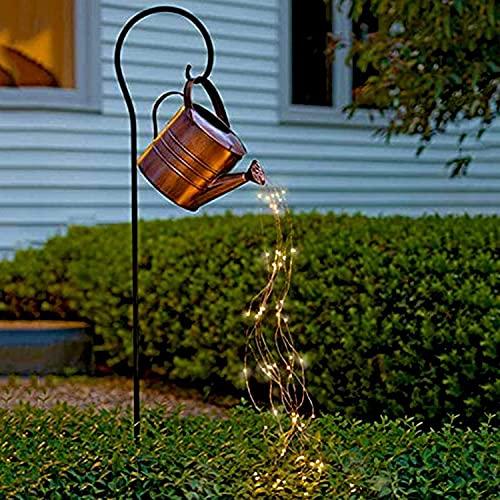 Ducha Star Garden Art Light Decoration, Luces solares de Vid de Alambre de Plata, regadera Luz de Noche de Arte para jardín de jardín Luces de lámpara
