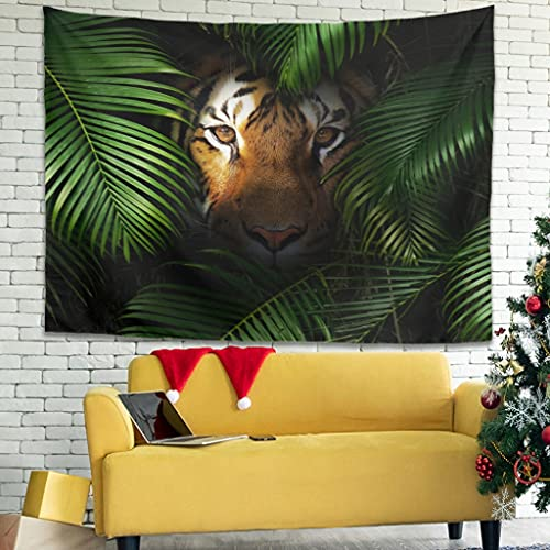 Tropical Rainforest Tiger Wall Hanging Tapestry Indian Tapestry Mysterious Wall Art Tablecloth Collage White6 200 x 150 cm