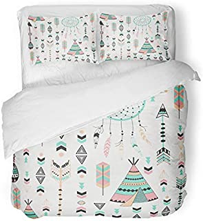 Emvency 3 Piece Duvet Cover Set Brushed Microfiber Fabric Breathable Arrow Ethnic with Feathers Teepees Floral and Tribal Pattern Fills Aztec Hippie Bedding Set with 2 Pillow Covers Twin Size