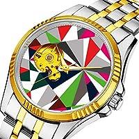 時計、機械式時計 メンズウォッチクラシックスタイルのメカニカルウォッチスケルトンステンレススチールタイムレスデザインメカニ (ゴールド)-647. ハッピーダイヤモンドのキラキラデザイン