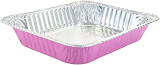 KitchenDance Disposable Colored Aluminum Half Size Steam Table Pans- Color Options (10 Count Pack, Pink)