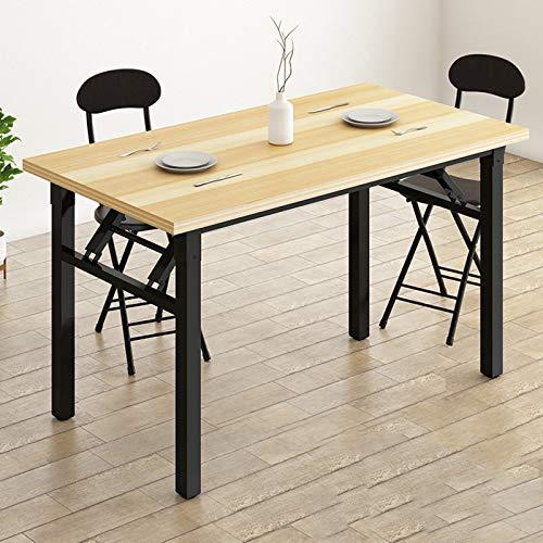 QYT-Mesa de Oficina, compacta, Plegable, Ideal como Escritorio para ordenado,Mesa Industrial Hecha de Madera y Metal120*60 * 74cm(Acabado de Roble Vintage),A