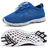 WALUCAN Boys & Girls Water Shoes Quick Drying Sports Aqua Athletic Sneakers Lightweight Sport Shoes(Toddler/Little Kid/Big Kid)-U3LETSX003-Deep blue-31