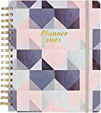 2021 Planner - Weekly & Monthly Planner with Tabs + Leather and Thick Paper, Back Pocket with 15 Notes Pages + Gift Box - 8' x 10'