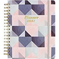 """2021 Planner - Weekly & Monthly Planner with Tabs + Leather and Thick Paper, Back Pocket with 15 Notes Pages + Gift Box - 8"""" x 10"""""""