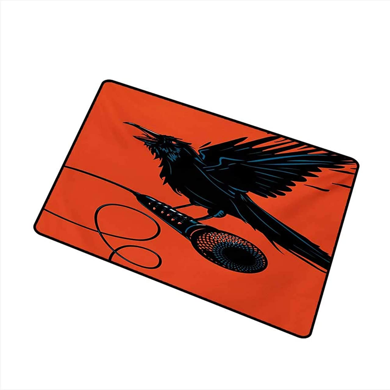 Diycon Welcome Door mat Indie Raven is Holding a Microphone Rock Music Theme Festival Party Gothic Singer W16 xL20 Country Home Decor