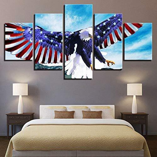 Decoracion Salon Modernos 5 Piezas Lienzo Grandes murales Pared hogar Pasillo Decor Arte Pared Cuadro Bandera americana águila propagación de alas abstracto FotosHD Impresión Carteles Innovado