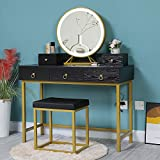 Iwell 39.4' Large Vanity Set Table with 3 Color Lighted Mirror, Makeup Vanity Dressing Table with 5 Drawers & Cushioned Stool, Gift for Women, Girl, Bathroom, Black