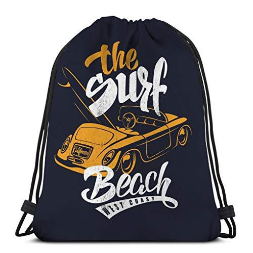 Jiuerlius3 Drawstring Backpack Bag,Gym Sack,for Girls Or Men Shopping,Sport,Gym,Yoga,School Summer Surf Print Car Lettering illustartion