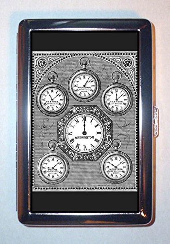 シルエット消える仲間スチームパンクポケット時計Victorian時間ゾーン:ステンレススチールIDまたはCigarettesケース( Kingサイズまたは100?mm )