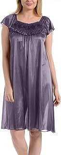 Ezi Women's Satin Silk Ruffle Nightgown