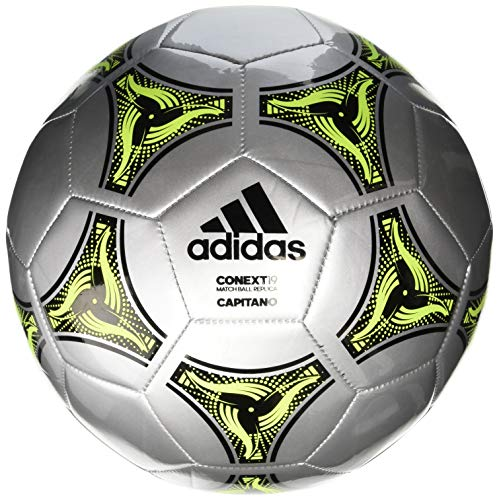 adidas Conext 19 Capitano Soccer Ball Silver Metallic/Black/Solar Yellow 4