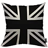 Mugod Union Jack Throw Pillow United Kingdom Flag Geometric Pattern Black and White Cotton Linen Square Cushion Cover Standard Pillowcase 18x18 Inch for Home Decorative Bedroom/Living Room/Car