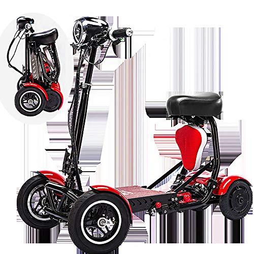 SSCJ Scooter portátil de Movilidad de Viaje, Bota de Viaje, Scooter de 4 Ruedas Scooter portátil de Movilidad, 10AH, baterías, Rango de Crucero 30 km