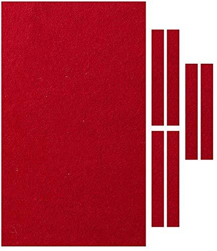 LJXiioo Professioneller 9 Fuß Billardtisch Filz + 6 Filzstreifen, Billard Snooker Stoff Filz für 9 Fuß Tisch, 0,6 mm Dicke - 3 Farben,Rot