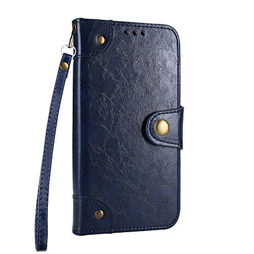 Dfly Huawei P8 Lite 2017 5.2 Zoll Hülle, Retro PU Leder Seitenstil Case Eingebaut 5 Kartenfach Klassisch Magnetisch Snap Schließung Ständer Funktion Ultra Dünn Flip Brieftasche Handyhülle, Blau