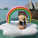GIRISR Rainbow Cloud Water Cup Holder Adulto Piscina Inflable Flotador Piscina Lazy Swim Ring Sillón Cama Flotante Anillo de Natación