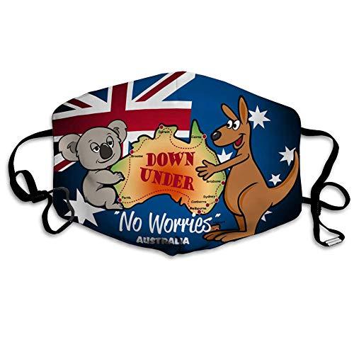 ZVEZVI Mens Womens Mouth Cover Face Feldkarte von Australien mit Koala Kangaroos und Flagge