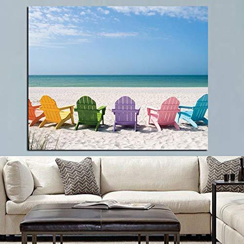 IHlXH Kristall Ozean und Blauer Himmel Seestück Leinwand Malerei Strandkorb Leinwand Pop Art Bild Wohnzimmer Wandbild A3 60x90 kein Rahmen