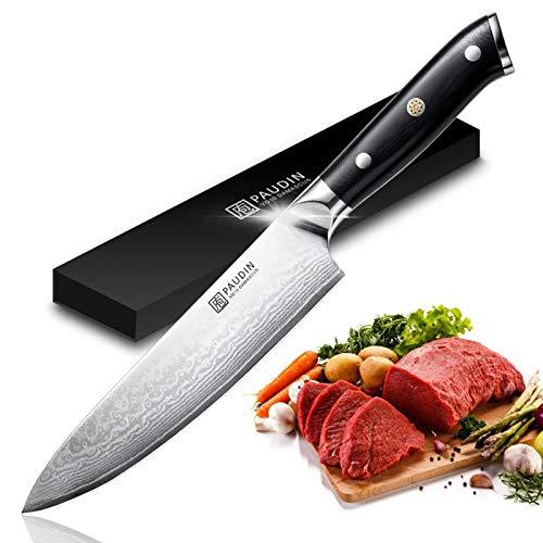 PAUDIN Damastmesser Kochmesser 20cm - Ultra scharfes 8-Zoll Küchenmesser Damaskus Messer mit ergonomischem Micarta-Griff, Japanisches AU10-Stahl-Kochmesser