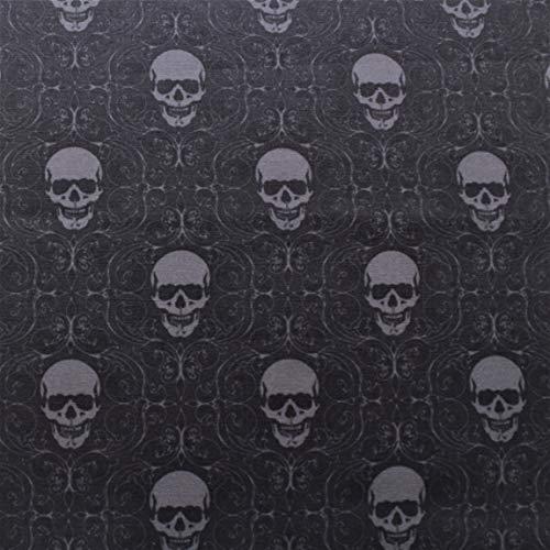 Halloween Sinister Skulls, Baumwolle in Premium-Qualität, Meterware, 110 cm breit, schwarz und grau