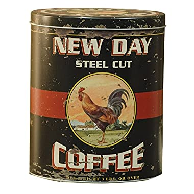 CWI Gifts Vintage Coffee Tin with Antique Rooster Ad, 8  x 6.5