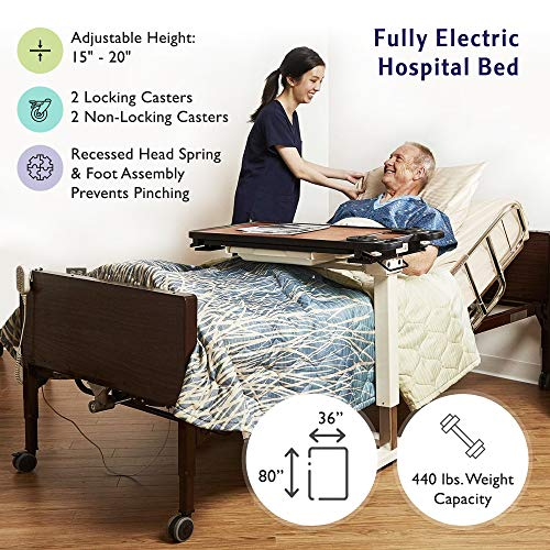 """Full Electric Hospital Bed with Premium Foam Mattress and Full Rails Included - for Home Care Use and Medical Facilities - Fully Adjustable, Easy Transport Casters, Remote - 80"""" x 36"""""""