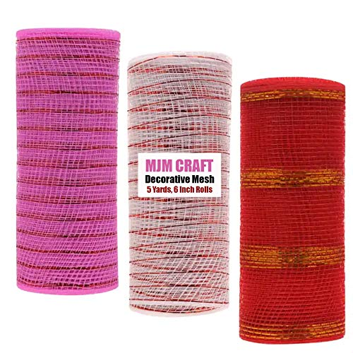 Valentine Day Decorative Mesh | Mixer of Red, Pink & White | Pack of 3, 5 Yards, 6 Inch Rolls | DIY...