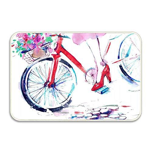 shenguang Mädchen mit hohen Absätzen auf Fahrrädern mit Blumen auf der Straße Neue Fußmatte Ziehen Sie Ihre Schuhe aus Innen- / Außen- / Vordertürmatte 16 x 24 Zoll