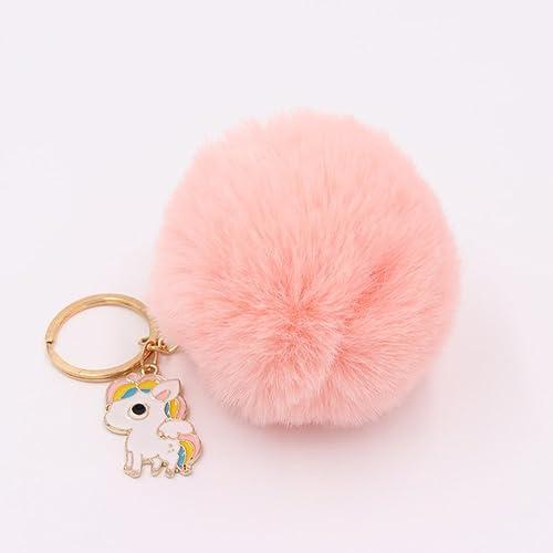 Lalang Unicorn Horse Fluffy Keyring Pom Pom Plush Ball Keychain Charm (pink) 97a9f1060566