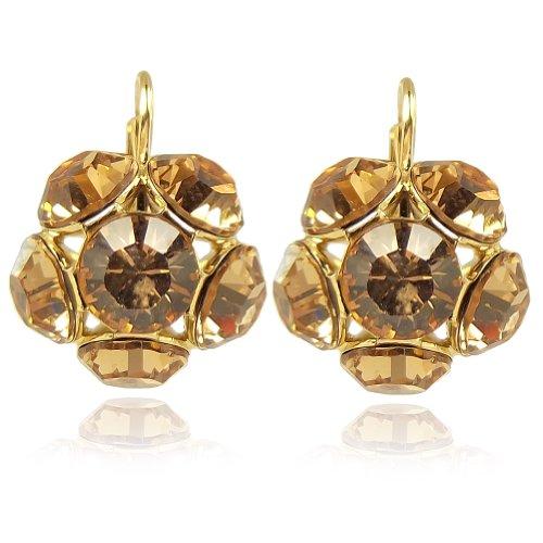 Blüten Ohrringe mit Kristallen von Swarovski® Gold Braun NOBEL SCHMUCK